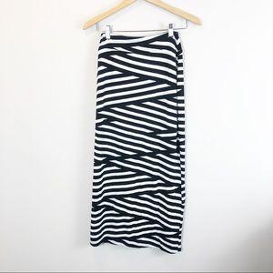Anthropologie Black and White Midi Skirt